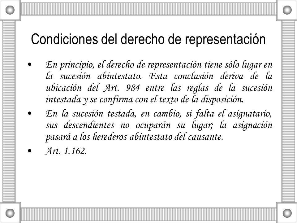 Condiciones del derecho de representación En principio, el derecho de representación tiene sólo lugar en la sucesión abintestato. Esta conclusión deri
