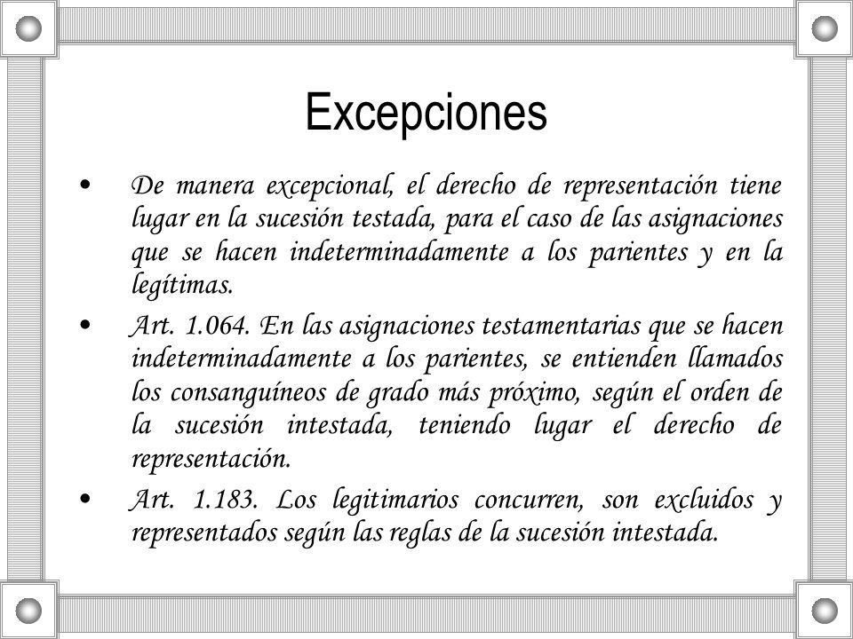 Excepciones De manera excepcional, el derecho de representación tiene lugar en la sucesión testada, para el caso de las asignaciones que se hacen inde