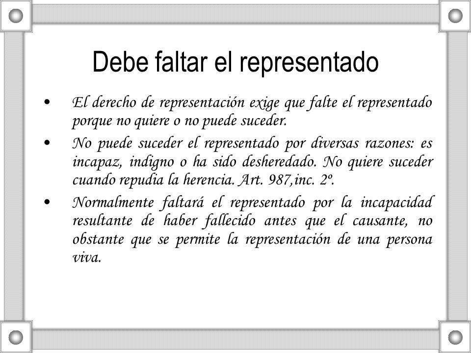Debe faltar el representado El derecho de representación exige que falte el representado porque no quiere o no puede suceder. No puede suceder el repr