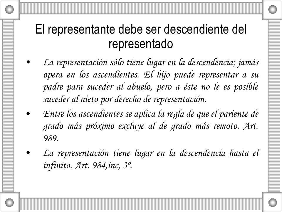 El representante debe ser descendiente del representado La representación sólo tiene lugar en la descendencia; jamás opera en los ascendientes. El hij