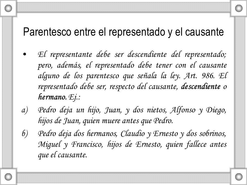 Parentesco entre el representado y el causante El representante debe ser descendiente del representado; pero, además, el representado debe tener con e