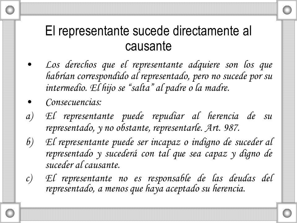 El representante sucede directamente al causante Los derechos que el representante adquiere son los que habrían correspondido al representado, pero no