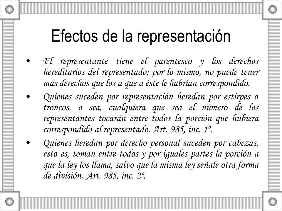 Efectos de la representación El representante tiene el parentesco y los derechos hereditarios del representado; por lo mismo, no puede tener más derec