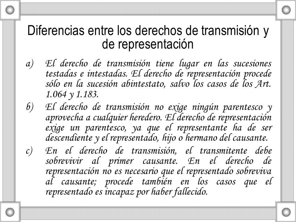 Diferencias entre los derechos de transmisión y de representación a)El derecho de transmisión tiene lugar en las sucesiones testadas e intestadas. El