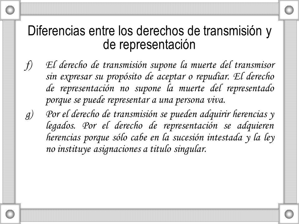 Diferencias entre los derechos de transmisión y de representación f)El derecho de transmisión supone la muerte del transmisor sin expresar su propósit