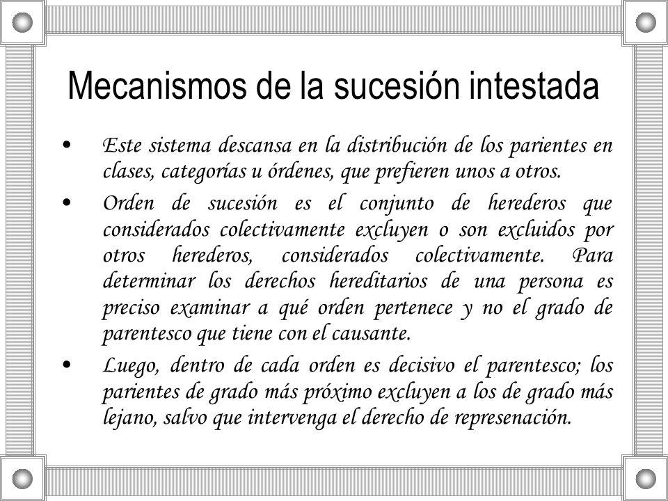 Mecanismos de la sucesión intestada Este sistema descansa en la distribución de los parientes en clases, categorías u órdenes, que prefieren unos a ot
