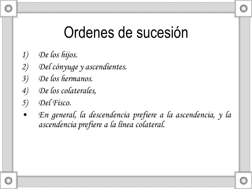 Ordenes de sucesión 1)De los hijos. 2)Del cónyuge y ascendientes. 3)De los hermanos. 4)De los colaterales, 5)Del Fisco. En general, la descendencia pr