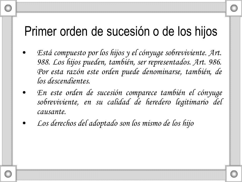 Primer orden de sucesión o de los hijos Está compuesto por los hijos y el cónyuge sobreviviente. Art. 988. Los hijos pueden, también, ser representado