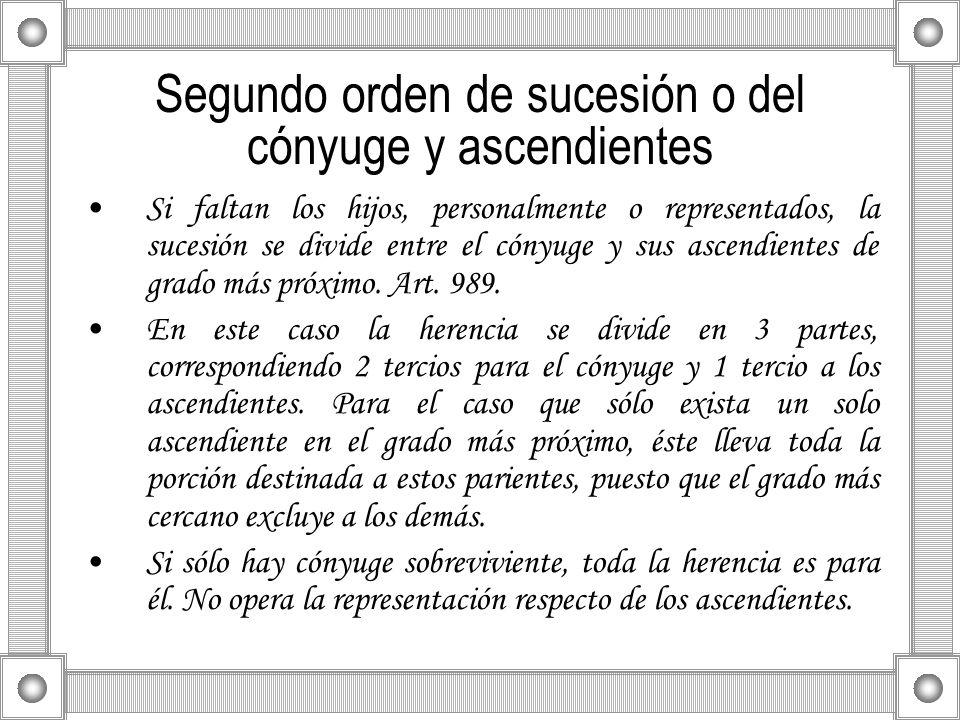 Segundo orden de sucesión o del cónyuge y ascendientes Si faltan los hijos, personalmente o representados, la sucesión se divide entre el cónyuge y su