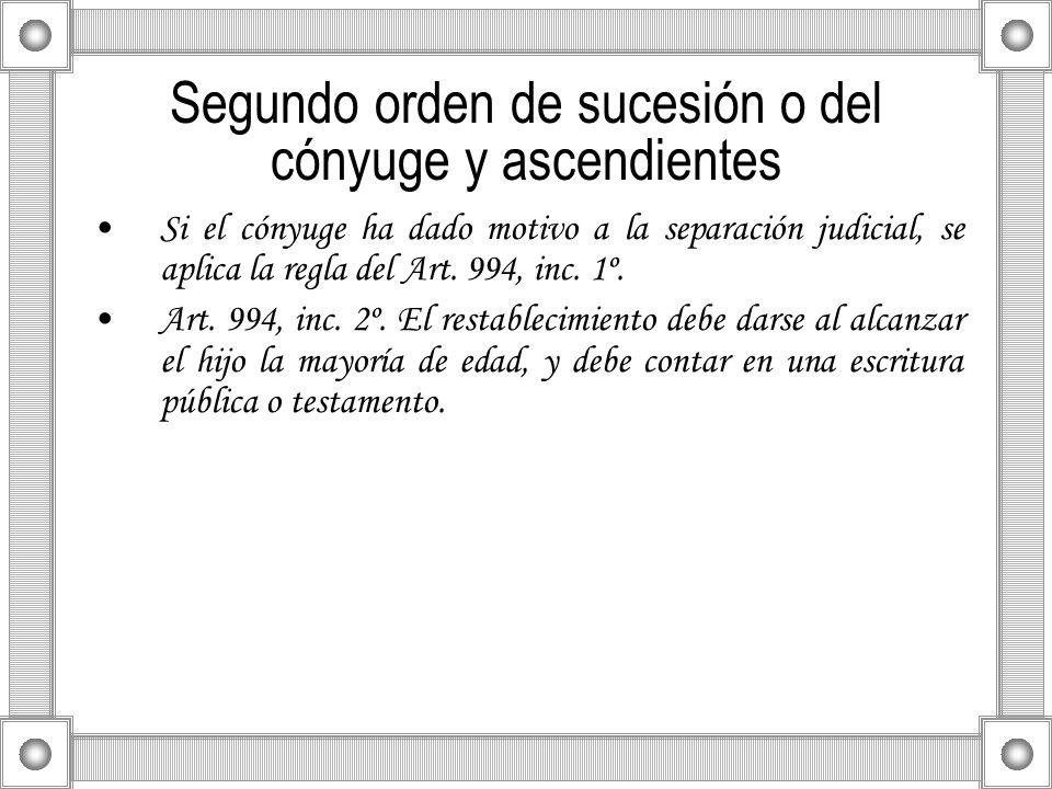 Segundo orden de sucesión o del cónyuge y ascendientes Si el cónyuge ha dado motivo a la separación judicial, se aplica la regla del Art. 994, inc. 1º