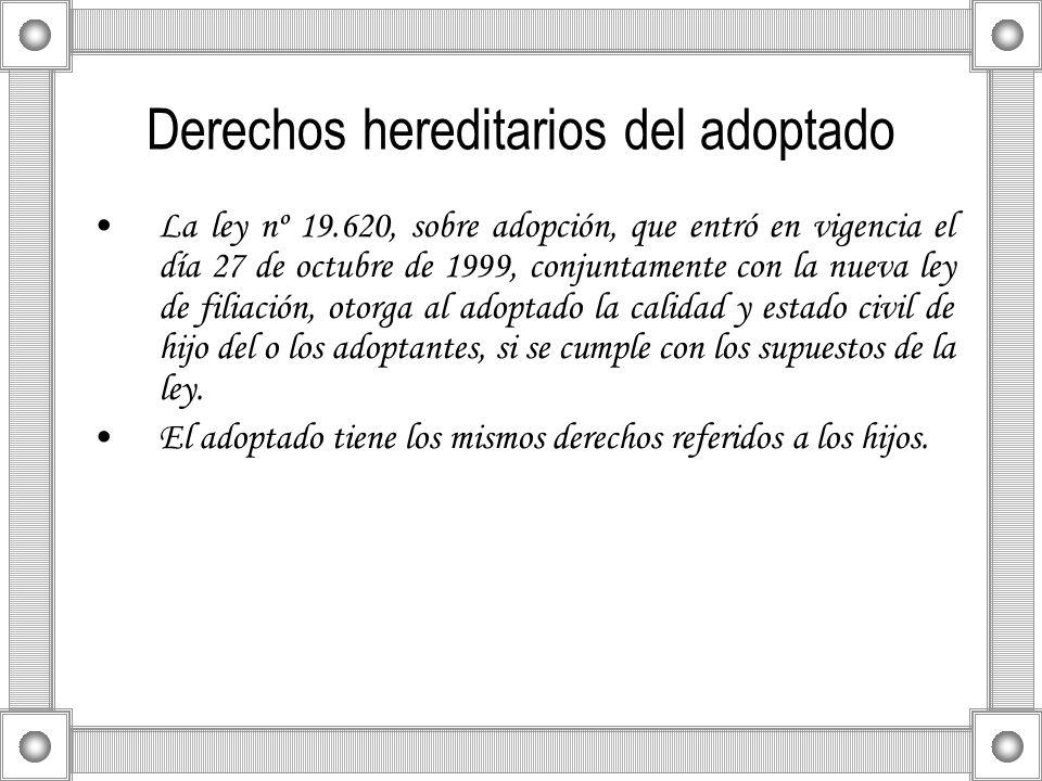Derechos hereditarios del adoptado La ley nº 19.620, sobre adopción, que entró en vigencia el día 27 de octubre de 1999, conjuntamente con la nueva le