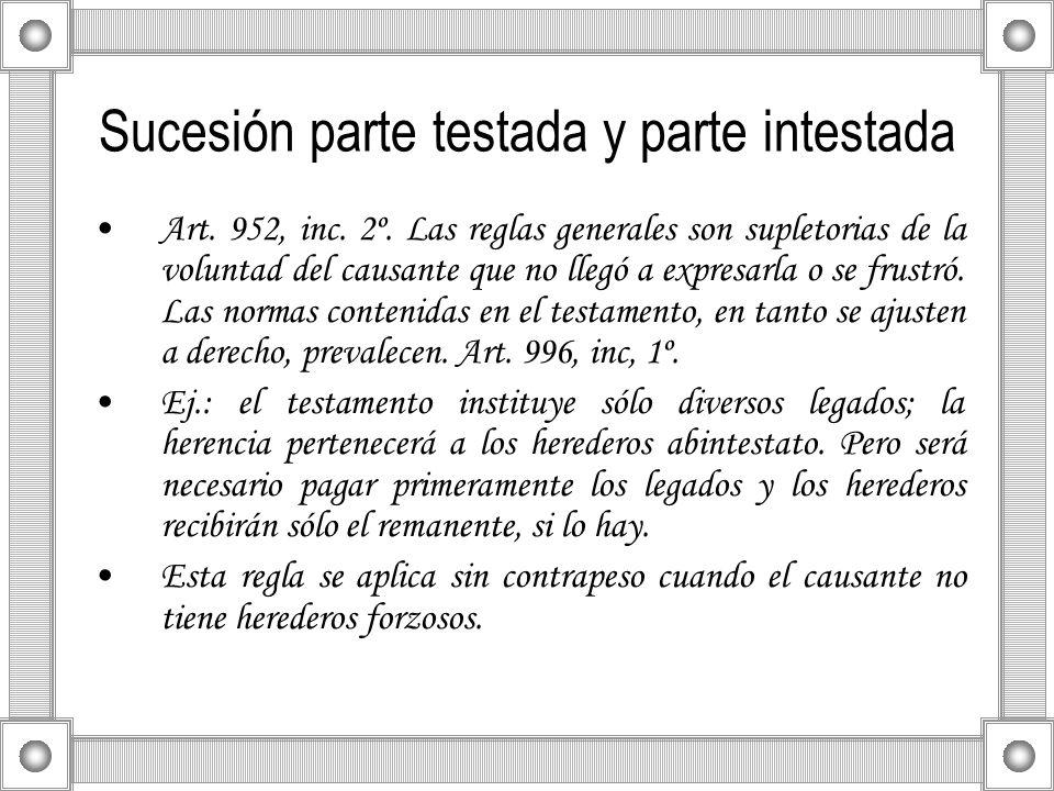 Sucesión parte testada y parte intestada Art. 952, inc. 2º. Las reglas generales son supletorias de la voluntad del causante que no llegó a expresarla