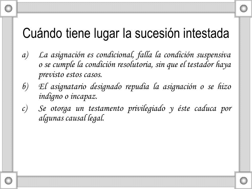 Cuándo tiene lugar la sucesión intestada a)La asignación es condicional, falla la condición suspensiva o se cumple la condición resolutoria, sin que e