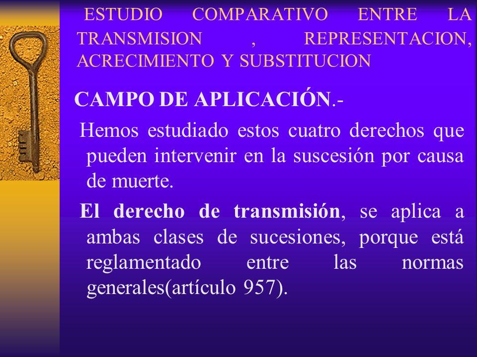 ESTUDIO COMPARATIVO ENTRE LA TRANSMISION, REPRESENTACION, ACRECIMIENTO Y SUBSTITUCION CAMPO DE APLICACIÓN.- Hemos estudiado estos cuatro derechos que
