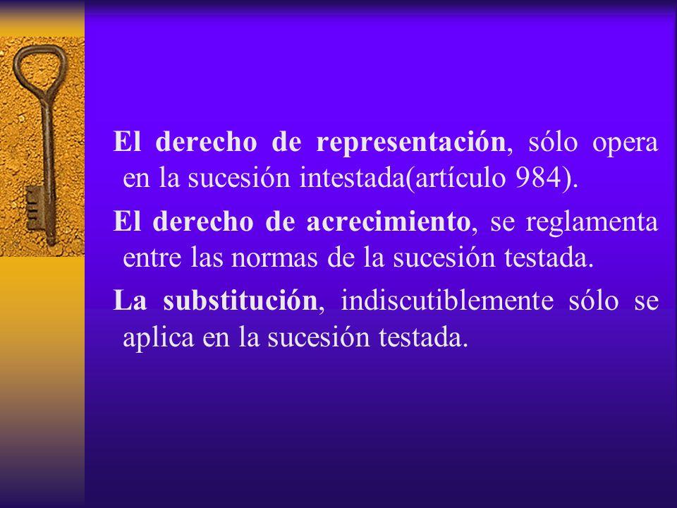 El derecho de representación, sólo opera en la sucesión intestada(artículo 984). El derecho de acrecimiento, se reglamenta entre las normas de la suce
