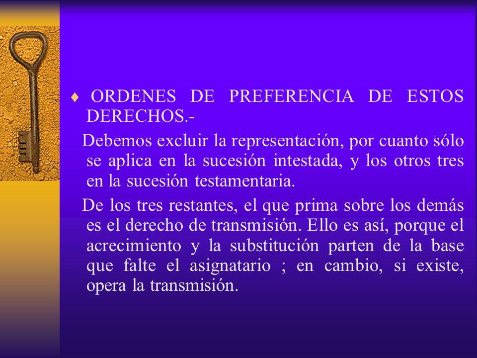 ORDENES DE PREFERENCIA DE ESTOS DERECHOS.- Debemos excluir la representación, por cuanto sólo se aplica en la sucesión intestada, y los otros tres en