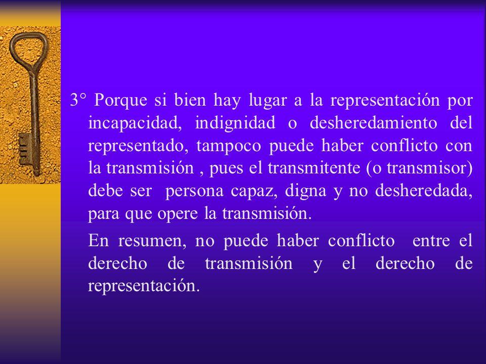 3° Porque si bien hay lugar a la representación por incapacidad, indignidad o desheredamiento del representado, tampoco puede haber conflicto con la t