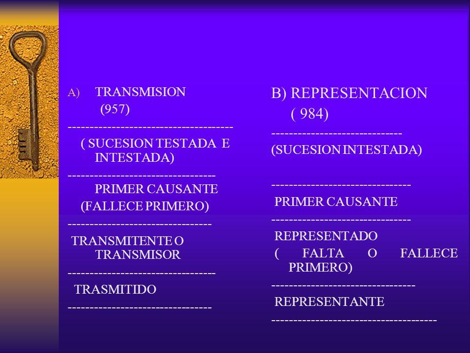 A) TRANSMISION (957) -------------------------------------- ( SUCESION TESTADA E INTESTADA) ---------------------------------- PRIMER CAUSANTE (FALLEC