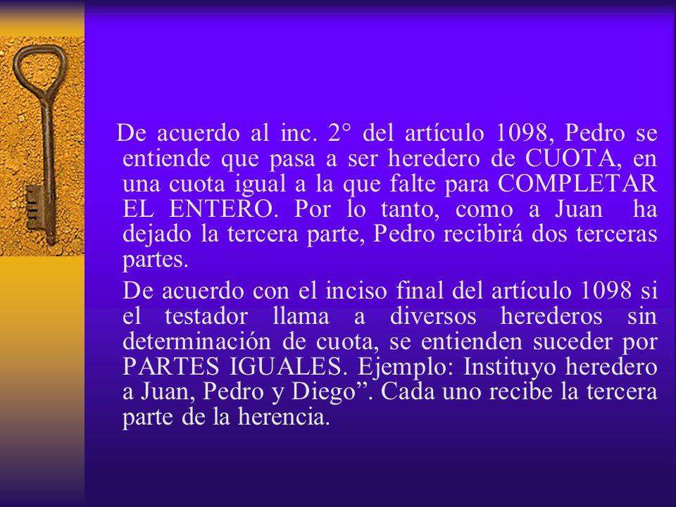 De acuerdo al inc. 2° del artículo 1098, Pedro se entiende que pasa a ser heredero de CUOTA, en una cuota igual a la que falte para COMPLETAR EL ENTER