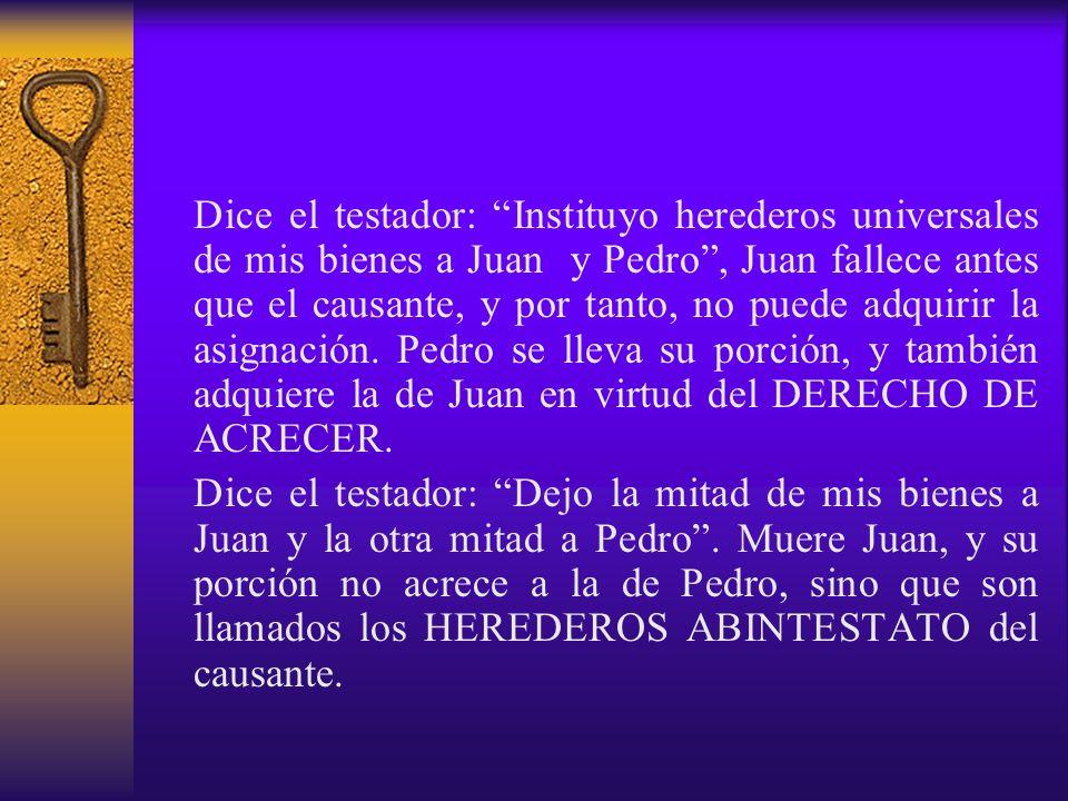 Dice el testador: Instituyo herederos universales de mis bienes a Juan y Pedro, Juan fallece antes que el causante, y por tanto, no puede adquirir la