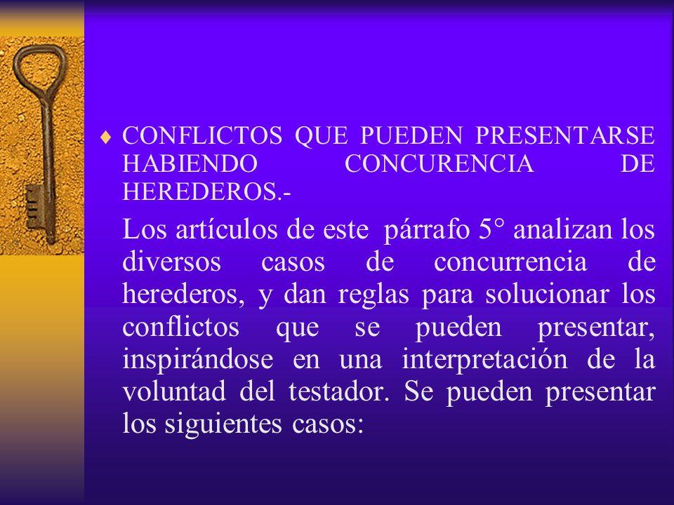 CONFLICTOS QUE PUEDEN PRESENTARSE HABIENDO CONCURENCIA DE HEREDEROS.- Los artículos de este párrafo 5° analizan los diversos casos de concurrencia de