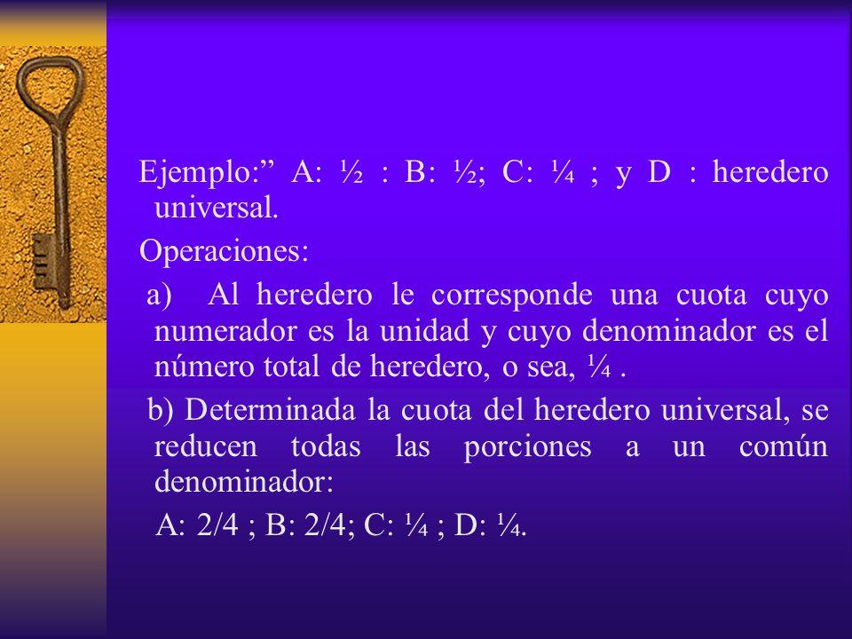Ejemplo: A: ½ : B: ½; C: ¼ ; y D : heredero universal. Operaciones: a) Al heredero le corresponde una cuota cuyo numerador es la unidad y cuyo denomin