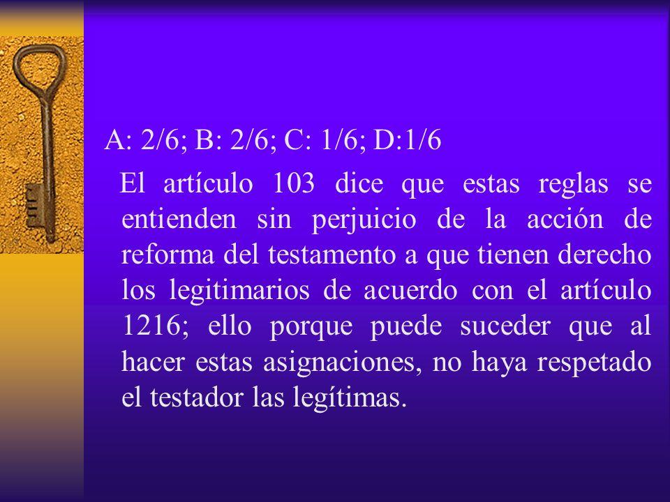 A: 2/6; B: 2/6; C: 1/6; D:1/6 El artículo 103 dice que estas reglas se entienden sin perjuicio de la acción de reforma del testamento a que tienen der