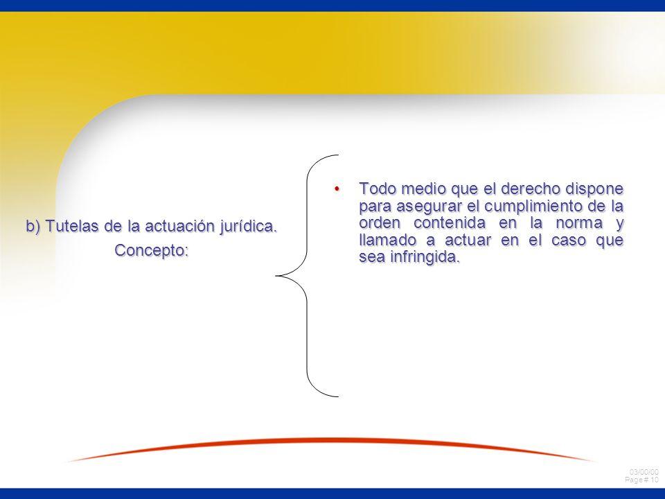 03/00/00 Page # 10 b) Tutelas de la actuación jurídica. Concepto: Todo medio que el derecho dispone para asegurar el cumplimiento de la orden contenid