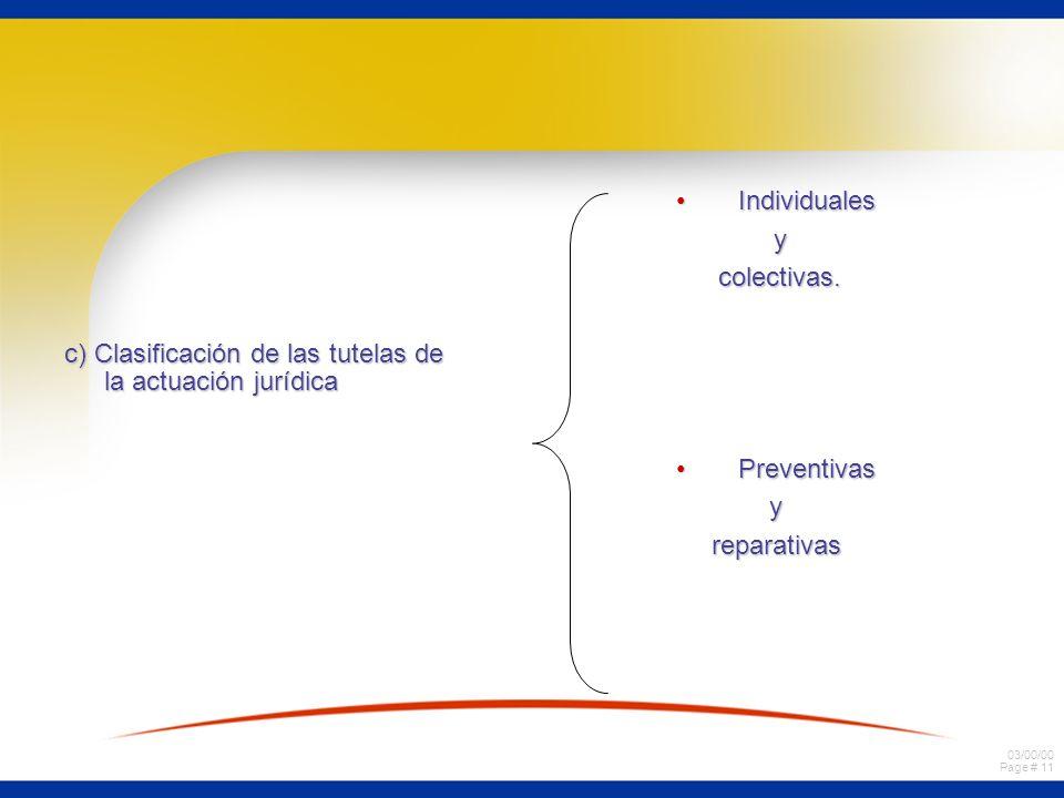 03/00/00 Page # 11 c) Clasificación de las tutelas de la actuación jurídica IndividualesIndividuales y colectivas. colectivas. PreventivasPreventivasy
