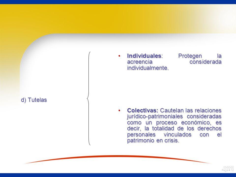 03/00/00 Page # 12 d) Tutelas Individuales: Protegen la acreencia considerada individualmente.Individuales: Protegen la acreencia considerada individu