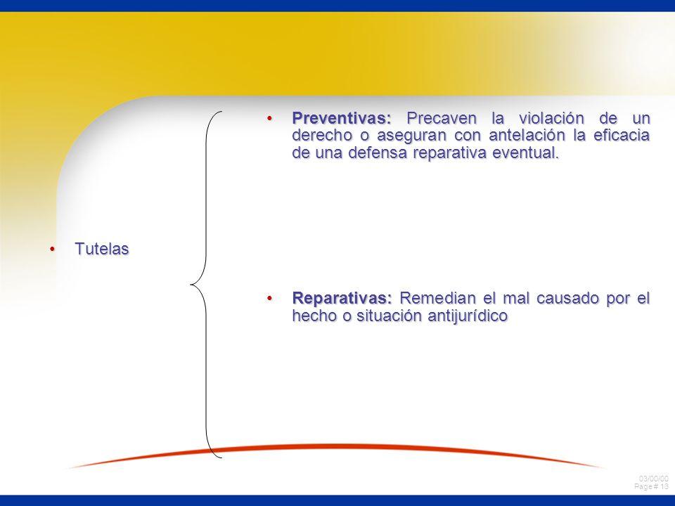 03/00/00 Page # 13 TutelasTutelas Preventivas: Precaven la violación de un derecho o aseguran con antelación la eficacia de una defensa reparativa eve