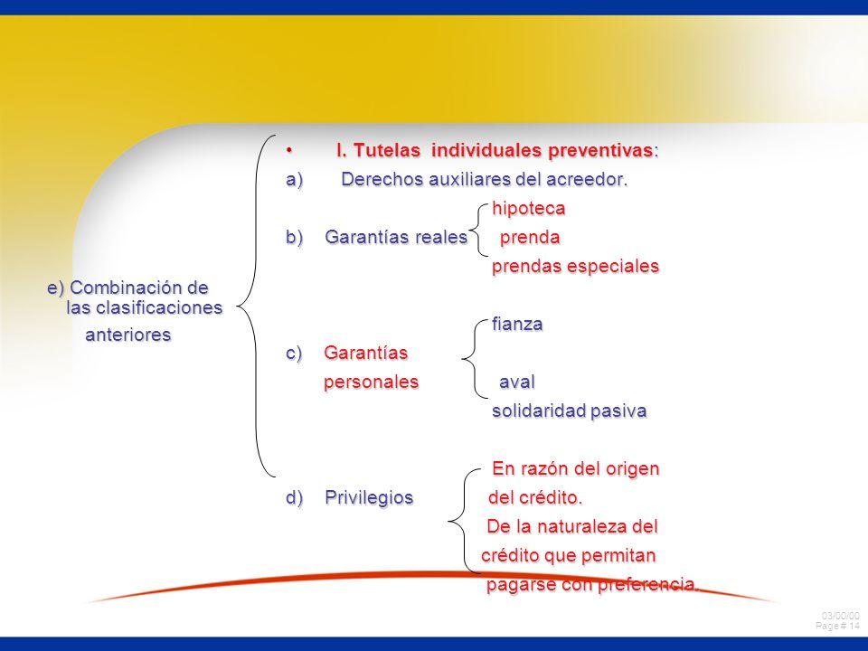 03/00/00 Page # 14 e) Combinación de las clasificaciones anteriores I. Tutelas individuales preventivas:I. Tutelas individuales preventivas: a) Derech