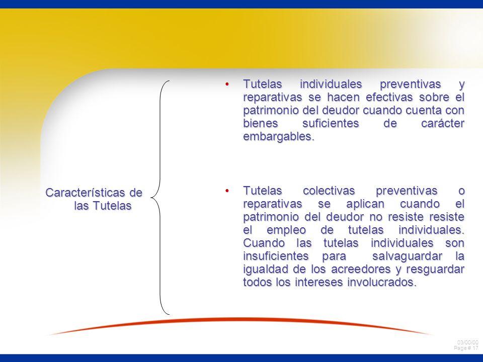 03/00/00 Page # 17 Características de las Tutelas Tutelas individuales preventivas y reparativas se hacen efectivas sobre el patrimonio del deudor cua