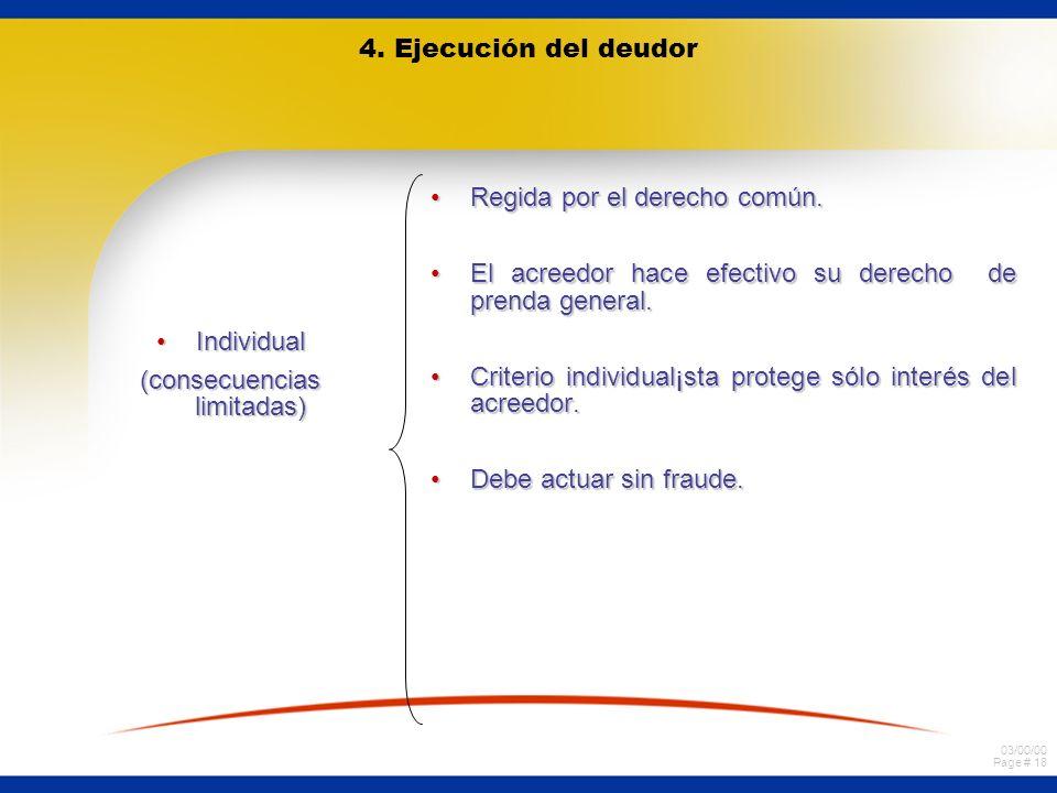 03/00/00 Page # 18 4. Ejecución del deudor IndividualIndividual (consecuencias limitadas) Regida por el derecho común.Regida por el derecho común. El