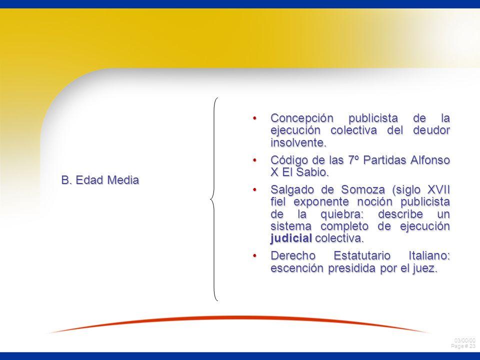 03/00/00 Page # 23 B. Edad Media Concepción publicista de la ejecución colectiva del deudor insolvente.Concepción publicista de la ejecución colectiva