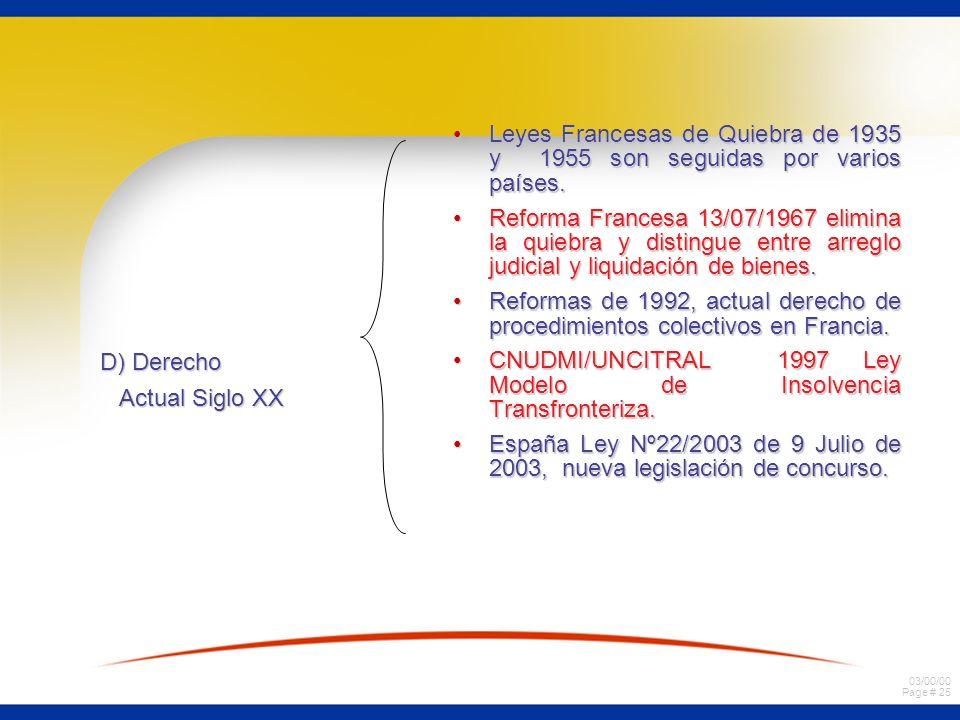 03/00/00 Page # 25 D) Derecho Actual Siglo XX Leyes Francesas de Quiebra de 1935 y 1955 son seguidas por varios países.Leyes Francesas de Quiebra de 1