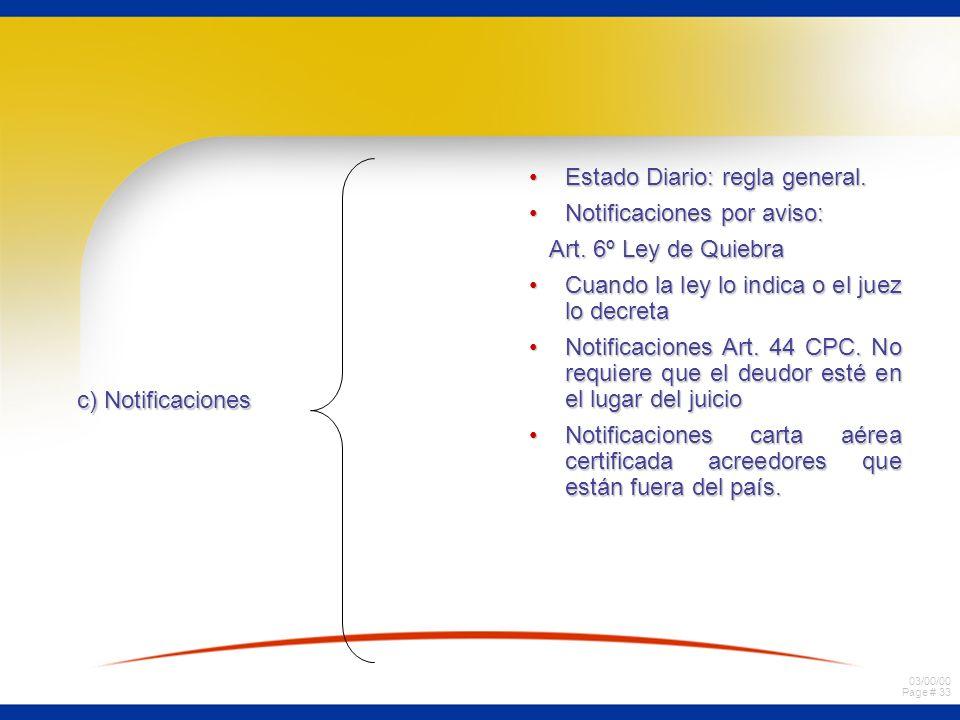 03/00/00 Page # 33 c) Notificaciones Estado Diario: regla general.Estado Diario: regla general. Notificaciones por aviso:Notificaciones por aviso: Art