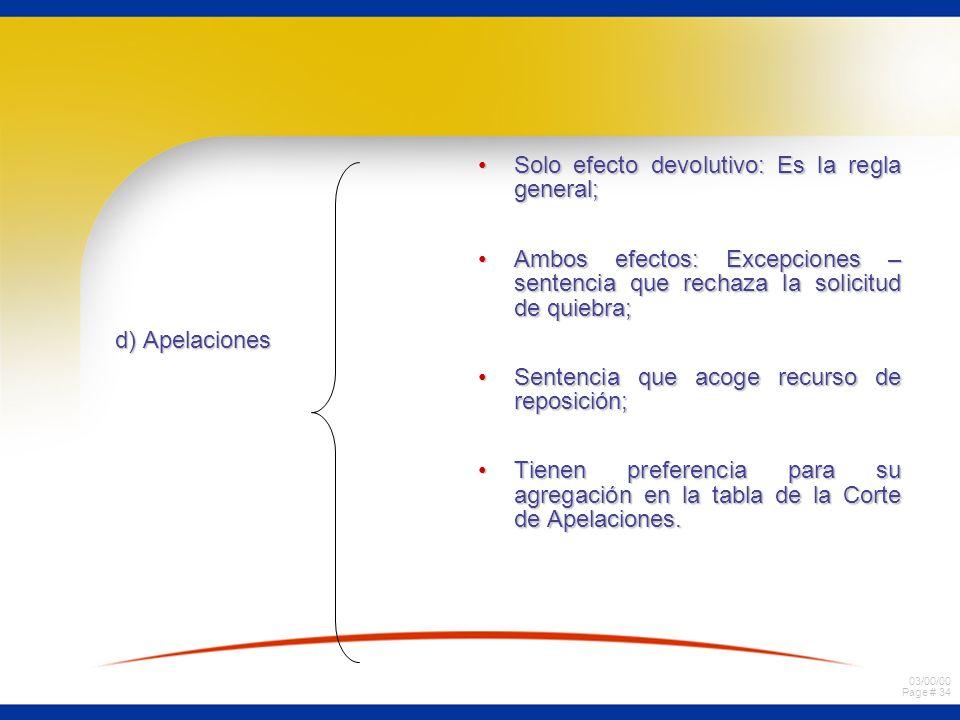 03/00/00 Page # 34 d) Apelaciones Solo efecto devolutivo: Es la regla general;Solo efecto devolutivo: Es la regla general; Ambos efectos: Excepciones
