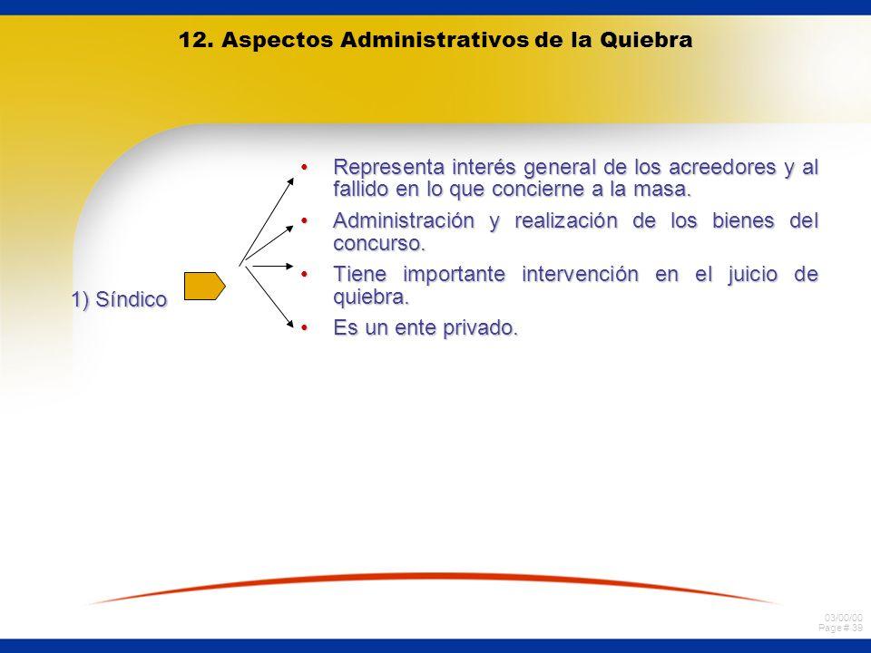 03/00/00 Page # 39 12. Aspectos Administrativos de la Quiebra 1) Síndico Representa interés general de los acreedores y al fallido en lo que concierne