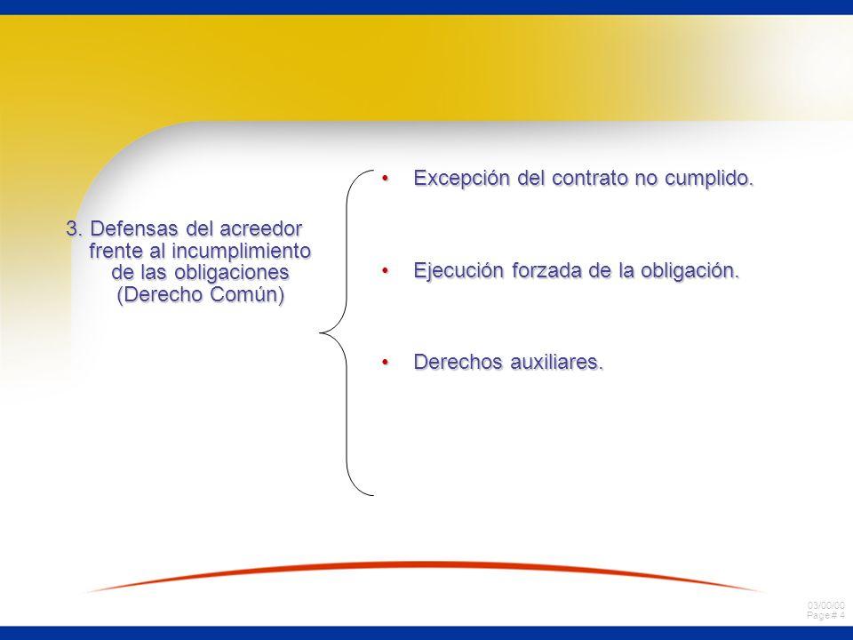 03/00/00 Page # 4 3. Defensas del acreedor frente al incumplimiento de las obligaciones (Derecho Común) Excepción del contrato no cumplido.Excepción d