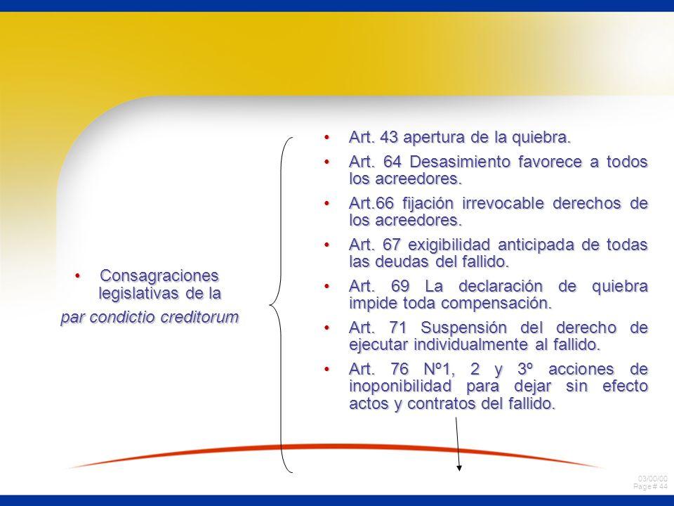 03/00/00 Page # 44 Consagraciones legislativas de laConsagraciones legislativas de la par condictio creditorum par condictio creditorum Art. 43 apertu