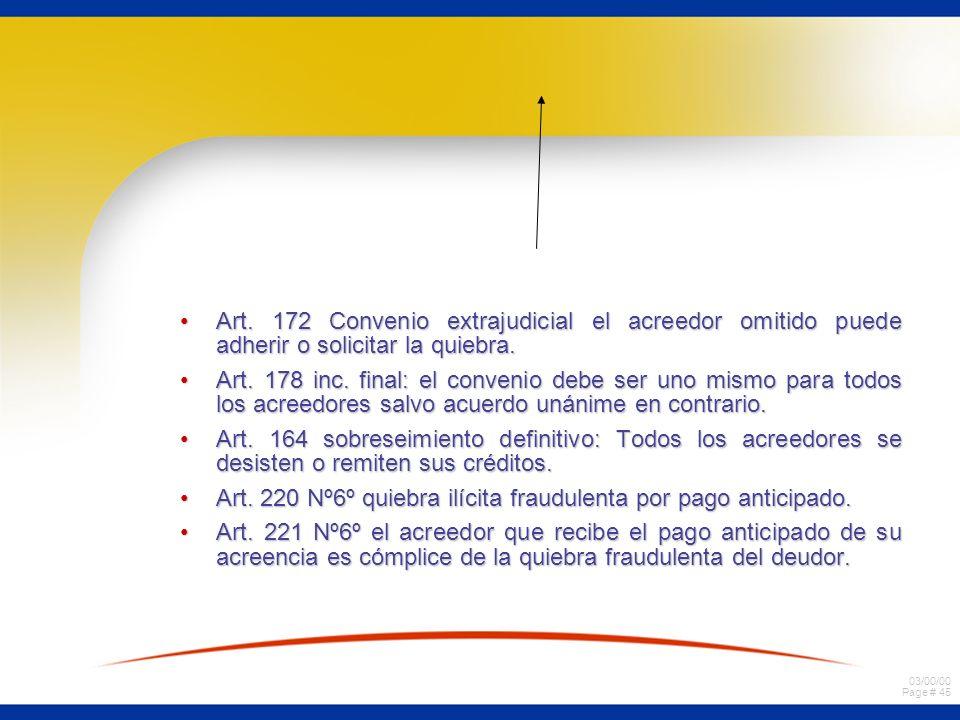 03/00/00 Page # 45 Art. 172 Convenio extrajudicial el acreedor omitido puede adherir o solicitar la quiebra.Art. 172 Convenio extrajudicial el acreedo