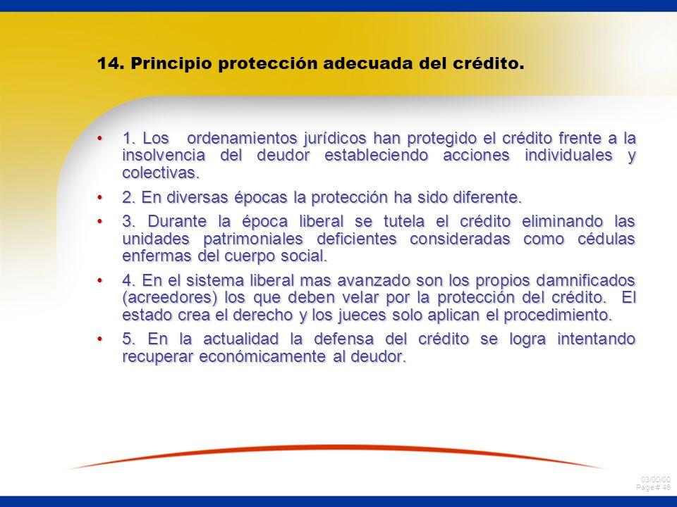 03/00/00 Page # 46 14. Principio protección adecuada del crédito. 1. Los ordenamientos jurídicos han protegido el crédito frente a la insolvencia del