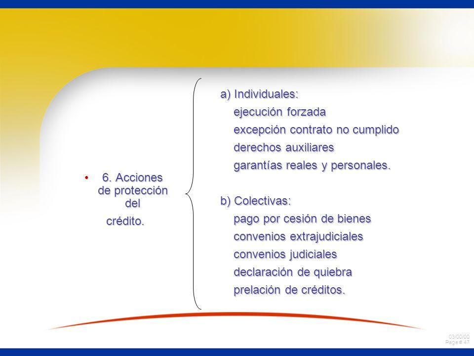 03/00/00 Page # 47 6. Acciones de protección del6. Acciones de protección del crédito. crédito. a) Individuales: ejecución forzada ejecución forzada e