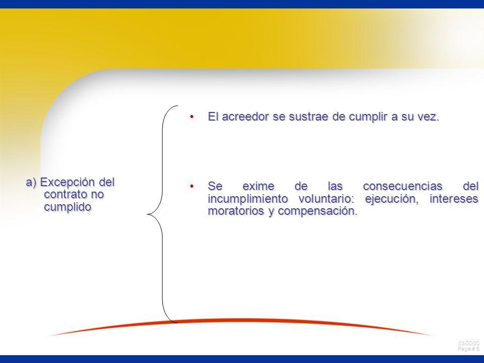 03/00/00 Page # 5 a) Excepción del contrato no cumplido El acreedor se sustrae de cumplir a su vez.El acreedor se sustrae de cumplir a su vez. Se exim