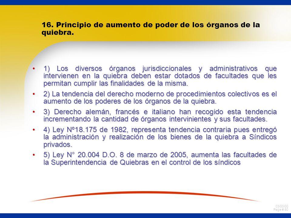 03/00/00 Page # 50 16. Principio de aumento de poder de los órganos de la quiebra. 1) Los diversos órganos jurisdiccionales y administrativos que inte