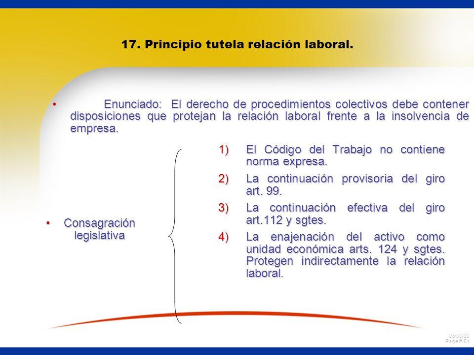 03/00/00 Page # 51 17. Principio tutela relación laboral. Enunciado: El derecho de procedimientos colectivos debe contener disposiciones que protejan