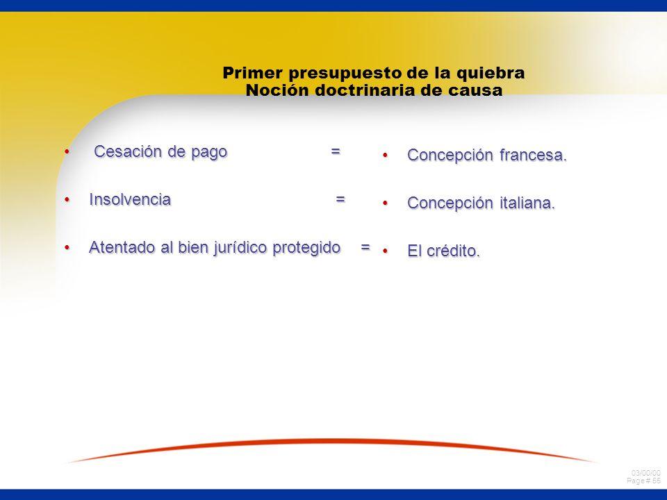 03/00/00 Page # 55 Primer presupuesto de la quiebra Noción doctrinaria de causa Cesación de pago = Cesación de pago = Insolvencia =Insolvencia = Atent