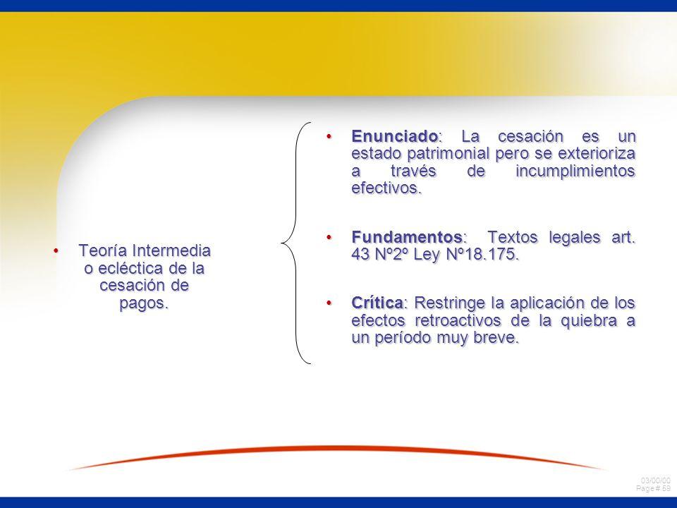 03/00/00 Page # 59 Teoría Intermedia o ecléctica de la cesación de pagos.Teoría Intermedia o ecléctica de la cesación de pagos. Enunciado: La cesación