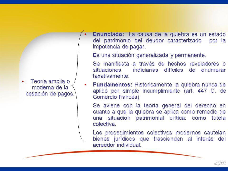 03/00/00 Page # 60 Teoría amplia o moderna de la cesación de pagos.Teoría amplia o moderna de la cesación de pagos. Enunciado: La causa de la quiebra
